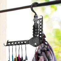 Wholesale wardrobe hangers - Magic Folding Clothes Hanger Rack Closet Space Saving Collapsible Hook Rack Wardrobe Organizer Multifunction Dual NNA143