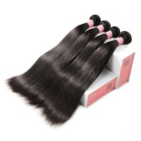 Wholesale human hair bundle packs - Doheroine Malaysian Straight Hair 4 Bundles 1 Pack Human Hair Extensions Double Weft Non Remy Hair Weave Bundles Natural Color