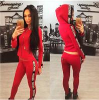 Wholesale Ladies Piece Jogging Suits - Lady Sport Suit Tracksuit Women 2 Piece Set Fashion Women Sportswear Casual Jogging Suits Hoodie Sweatshirt Pant Sets