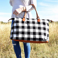 Wholesale Buffalo Check Handbag Red Black Plaid Bags Large Capacity Travel Tote with PU Handle Storage Maternity Bags OOA6384