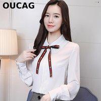 ingrosso più le misure korea di abbigliamento-camicetta donne 2018 nuovo anno primavera OUCAG lungo plus size dolce Corea Giappone ufficio signora ricamo abiti in chiffon tuta sexy