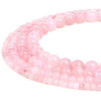 ingrosso perline di qualità-TSunshine di alta qualità naturale quarzo rosa pietra preziosa rotonda perline sparse per gioielli fai da te fare europeo 1 Strand - 4MM-10MM