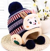 1a92935bb63 kids thermal warm ski hat baby knit animal monkey beanies crochet boy girl  Cartoon Christmas cap infant ear cover beanies