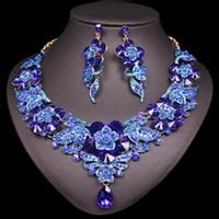 ingrosso la collana dei monili nuziali indica l'indiano-Fiori di lusso Foglie Set di gioielli in cristallo Collana di orecchini da donna Set di gioielli da sposa indiana Regali per le donne