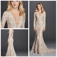detaillierte hochzeitskleid meerjungfrau großhandel-Champagne Mermaid Brautkleider 2018 Long Sleeves V-Ausschnitt volle Spitze Detail und Button Zurück Modest Brautkleider