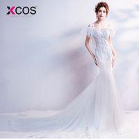 loja de roupas de noiva de renda branca venda por atacado-Atacado Sexy White Wedding Dress Sereia 2018 Preço Real Rendas Vestidos De Casamento Trem Real Loja Online China vestido branco