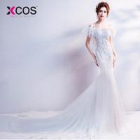 robe de mariée en dentelle blanche achat en gros de-vente en gros sexy robe de mariée blanche sirène 2018 prix réel robes de mariée en dentelle Boutique Royal Train en ligne Chine