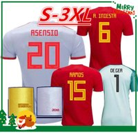Wholesale Beige Uniform - 2018 Spain Jersey home Away Soccer Jersey 2018 world cup Spain home soccer shirt 2018 ASENSIO MORATA ISCO A.INIESTA Football uniforms sales