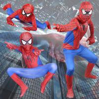 fantasia incrível de spiderman zentai venda por atacado-Incrível Homem Aranha Traje Roupas Terno Menino Crianças Crianças Spiderman Traje Zentai Traje Cosplay Halloween