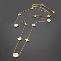 yüksek kaliteli titanyum zincir toptan satış-Yüksek kalite sıcak marka titanyum çelik kazak zinciri 18 K altın gül gümüş uzun kolye moda kadın hediye için uygun katiyen kutu