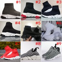 Wholesale high top sneakers rhinestones - [With Double Box] 2018 New Speed Runner Luxury Shoes Sock shoe Top Quality Black White Red Trainer Sneaker Running Shoes Sport men women