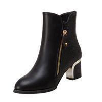 обувь с низкой пяткой на лодыжке оптовых-2018  Boots Women Winter Shoes British Style Patent Leather Fashion Female Square Toe Low Heels Ankle Boots Women