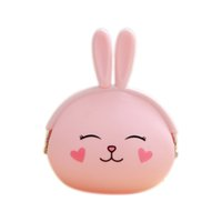 Wholesale Small Silicone Purses - Wholesale- Beauty Girl Coin Purse Animal Lovely Kawaii Cartoon Rabbit Pouch Women Girls Small Wallet Soft Silicone Coin Bag Kid Gift