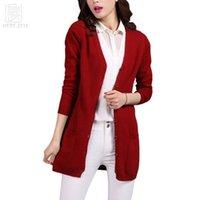 Wholesale sheep s wool - 2017 Classic Cardigans V-neck Fashion Basic Women Wool Knitted Pocket Cardigan Long Sheep Wool Women Sweater Jacket Femme Mander