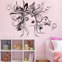 Wholesale 3d Fairy Stickers - Sexy Women Wall Sticker Removable Vinyl Art Design Head Of Flower Fairy Wall Decals Home Decor Living Room