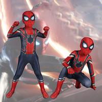 ingrosso costumi da supereroe del capretto di zentai-Spider Man Costume Cosplay Costumi di Halloween Per la ragazza del ragazzo Fancy Kids Zentai Iron Spiderman Superhero suit