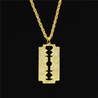 buz bıçağı toptan satış-5 ADET Hip Hop Tarzı Jilet Kolye Kolye Alaşım Altın Renk Buzlu Out Rhinestones Ile Erkekler Için 70 cm Zincir Kolye Noel Hediyesi