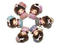 ingrosso monchichi cartone animato-Bulk 12Pcs Strass Monchichi Charms Portachiavi Cute Doll Ciondoli Decorazione Accessori Borsa a mano Portachiavi Ciondolo Regali di moda