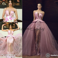 Wholesale Short One Shoulder Puffy Dress - Sweetheart Pink Lace Stain Prom Pageant Dresses with Overskirt 2018 Tony Chaaya Puffy Skirt Princess Middle East Occasion Evening Wear Gown