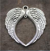 alas de angel tibetano al por mayor-2pcs / lot - Enormes encantos de alas de ángel, plata tibetana antigua Grandes ángeles Alas de hada Plumas Colgantes, collar encantos 69x73mm