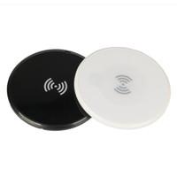 evrensel şarj yastığı toptan satış-En Yeni Qi İnce Kablosuz Şarj 6mm Yuvarlak Ultra ince Evrensel Şarj Siyah Beyaz Şarj Pad ücretsiz DHL kargo