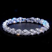 bracelet en diamant topaze achat en gros de-Bijoux de luxe Pétillant 18 K Or Blanc Rempli Marquise Topaz CZ Diamant Complet Roma Bracelet Hot Party Femmes Bracelet Pour Les Amoureux 'Cadeau