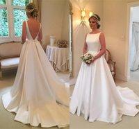 marfim casamento cetim vestidos vintage venda por atacado-A linha de cetim de luxo vestidos de noiva branco marfim longo varrer trem Plus Size vestidos de noiva com arco jardim vestido de novia