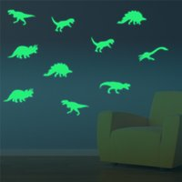 ingrosso adesivi animati scuri dell'animale-Carino Luminoso Casa Decalcomania Decorativa Baby Camera dei bambini Adesivi murali fluorescenti fai da te Animal Creativo Dinosauro Glow In The Dark Decalcomania del vinile