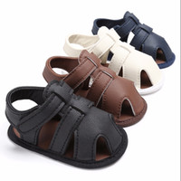 Wholesale boys brown sandals resale online - Summer Shoes Baby Boys Soft Leather Sandals Babs Boys Summer Prewalker Soft Sole Genuine Leather Beach Sandals