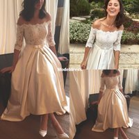 Wholesale low shoulder tops - 2018 New High Low Beach Wedding Dresses Off Shoulder 1 2 Long Sleeve Lace Top Tea Length Country Boho Bridal Gowns Cheap Customized