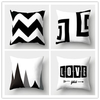 Wholesale 18x18 pillow cases - Hot 200pcs Pillow Case Black and White Pattern Pillowcase Cotton Linen Printed 18x18 Inches Geometry Euro Pillow Covers