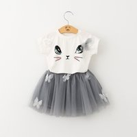 Wholesale tutu skirt set pink online - New toddler kids baby girls T shirt tops skirt clothes outfits set girl s outfits children suit kids summer boutique clothes