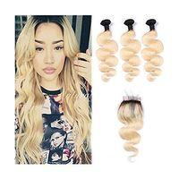 ombre reine haarbündel großhandel-Brasilianisches gerades Körper-Wellen-Menschenhaar spinnt 3 Bündel Ombre 1b / 613 blonde Menschenhaar-Bündel mit Schließung Honig-Platin-Jungfrau-Haar