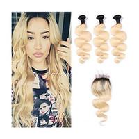 couleur des cheveux blonds 613 achat en gros de-Les cheveux humains de vague de corps droite brésilienne tisse 3 faisceaux Ombre 1b / 613 faisceaux de cheveux humains blonds avec la fermeture Miel Platinum cheveux vierges