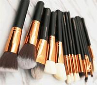 saco de cosméticos profissional venda por atacado-2019 Hot Brush Set 15 pcs Melhor Qualidade Profissional Maquiagem Jogo de Escova Sombra Delineador Mistura Lápis Cosméticos Ferramentas Com Saco PU