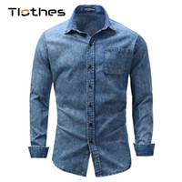 b1894380840 ... Mens Denim Shirts Streetwear Button Down Jeans Shirt Male Camisa  Masculina XXXL. 34% Off