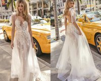 Wholesale muse black - 2019 Muse By Berta Bohemian Wedding Dresses Sheer Jewel Neck Illusion Lace Boho Wedding Gowns Applique Backless Beach Bridal Dress With Bow