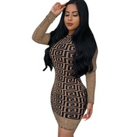 Wholesale hot club clothes for sale - Women Long Sleeve Mini Dress Mesh Sheer Night Club Sexy Geometric Print Skirt Brown Plaid Bodycon Dresses With Lining women clothes hot