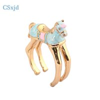 Wholesale Enamel Glaze Rings - CSxjd High quality Exquisite Enamel glaze Cute small Horse ring fashion exaggeration Ring