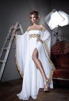 vestido abaya kaftan branco novo venda por atacado-Nova Chegada Caftan Marocain Vestido Abaya Islâmico Dubai Vestido de Noite Branco de Manga Longa Fora Do Ombro Sash Slit Kaftan Mulheres Vestidos de Festa