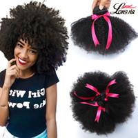 kinky afro saç uzantıları toptan satış-8A Vizon Perulu Afro Kinky Kıvırcık Saç Dalga 3 Demetleri Perulu bakire Afro Kinky Kıvırcık İnsan Saç Uzantıları perulu Afro Kinky Bakire Saç
