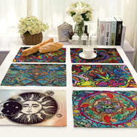 Wholesale Linen Coasters Wholesale - National Elements Pattern Placemat Cotton Linen Western Pad Insulation Dining Table Mat Bowls Coasters Kitchen Accessories