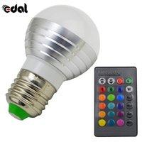 ingrosso lampada a distanza intelligente per la casa-EDAL 3W RGB LED Magic Light Bulb Lampada + 24Key Telecomando IR Colori Cambia nuova Hot Smart Home Illuminazione Vendita calda