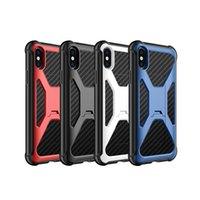 coque rigide en fibre de carbone achat en gros de-Étui de ceinture en fibre de carbone pour iPhone X 8 7 Plus Galaxy S8 Plus Note 8 Couverture hybride en plastique dur + TPU Kickstand Defender Peau antichoc