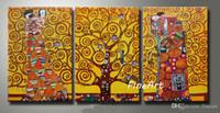 pinturas de cocoteros al por mayor-Reproducción de pintura al óleo hecha a mano de buena calidad del famoso artista gustave klimt 3 piezas lienzo de arte colgante de pared decoración de imagen hogar