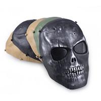 ingrosso guardia del gioco-Outdooors CS Maschera di protezione Full Face Guard War Game Airsoft Paintball Skull Masque halloween Full Face Black Mask