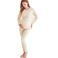 açık göğüs kadınları toptan satış-Annelik Pijama Gecelik Gecelik Pijama hamile kadınlar için Pamuk hemşirelik pijamalar Emzirme giysileri ön açık 2 adet