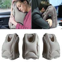 oreillers pour voyager en avion achat en gros de-Oreiller ergonomique et portatif de repos de nuque d'oreiller de voyage gonflable gris, conception brevetée pour avions, voitures, autobus, train faisant la sieste