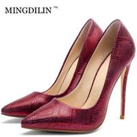 kadınlar 33 topuklu toptan satış-MINGDILIN Gümüş kadın Yüksek Topuklu Ayakkabılar Düğün Parti Kadın Ayakkabı Yeşil Kırmızı Artı Boyutu 33 43 Sivri Burun Seksi Stiletto Pompalar