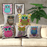 ingrosso cuscino di lancio del gufo-Cotone Lino Throw Pillow Case No Core Big Eyed Owl Vintage Cute Cartoon Ufficio Divano Cuscino Home Decor 8my bb